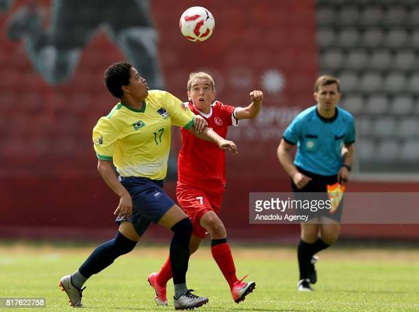 Ozlem Aktas of Turkey in action against Luana De Jesus of Brazil during the 23rd Summer Deaflympics 2017 football match at Canik 19 Mayis Stadium in...