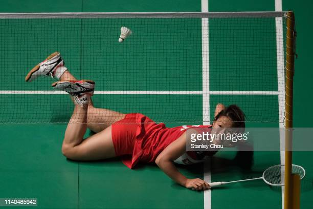 Ozomi Okuhara of Japan in action on day three of the Badminton Malaysia Open at Axiata Arena on April 04 2019 in Kuala Lumpur Malaysia