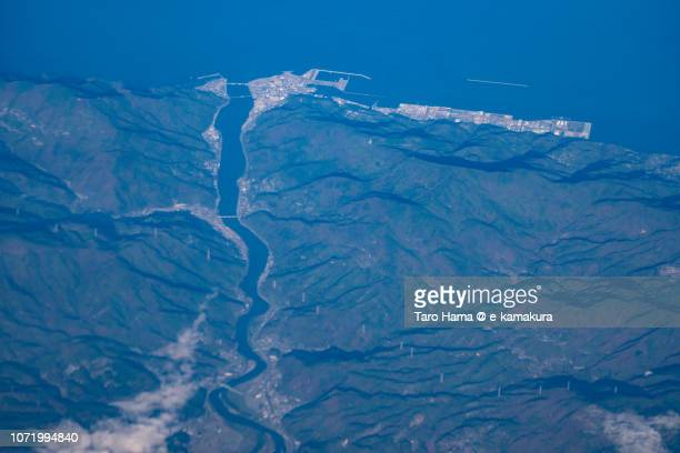 Ozu city and Seto Inland Sea in Ehime prefecture in Japan daytime aerial view from airplane