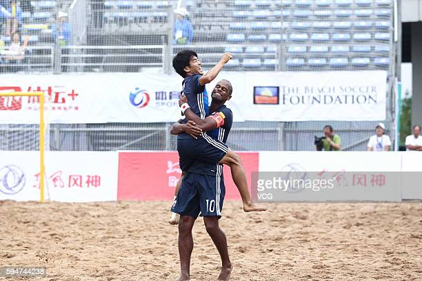Ozu Moreira and Shotaro Haraguchi of Japan celebrate their goal during the Continental Beach Soccer Tournament match between Japan and Thailand at...