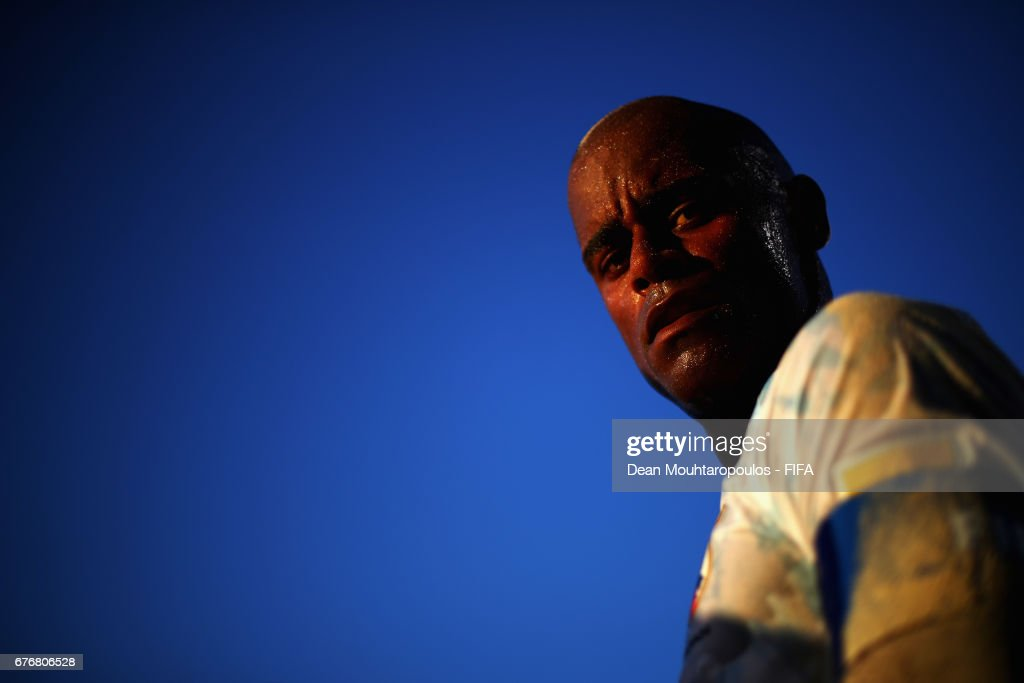 Ozu Moreira of Japan looks on during the FIFA Beach Soccer World Cup Bahamas 2017 group D match between Braziland Japan at National Beach Soccer Arena at Malcolm Park on May 2, 2017 in Nassau, Bahamas.