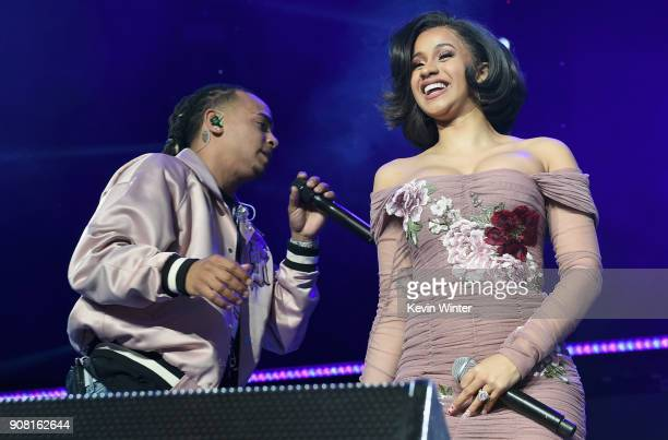 Ozuna and Cardi B perform onstage during Calibash Los Angeles 2018 at Staples Center on January 20 2018 in Los Angeles California