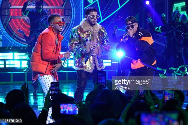Ozuna Anuel AA and Daddy Yankee perform onstage during the 2019 Latin American Music Awards at Dolby Theatre on October 17 2019 in Hollywood...