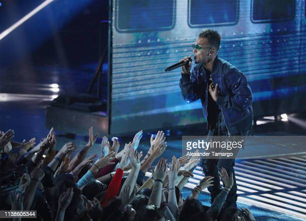 Ozuna performs onstage during Telemundo's La Voz Finale Live Taping at Cisneros Studios on April 21 2019 in Medley Florida
