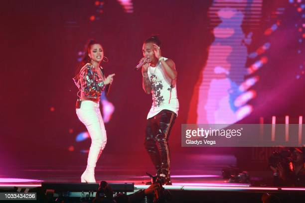 Ozuna performs with Nati Natasha as part of his concert 'Aura' at Coliseo Jose M Agrelot on September 14 2018 in San Juan Puerto Rico