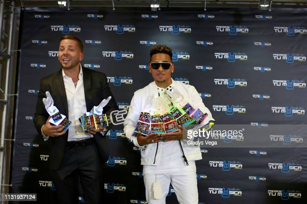 Ozuna with his manager Vicente Saavedra receives six awards as part of 2019 Premios Tu Musica Urbano at Coliseo Jose M Agrelot on March 21 2019 in...