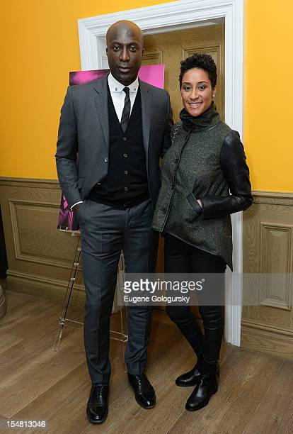 """Ozwald Boateng and Kimberly Chandler attend """"A Man's Story"""" New York Premiere at Crosby Street Hotel on October 26, 2012 in New York City."""