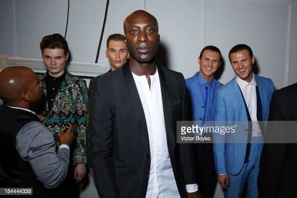 Ozwald Boateng backstage prior to the Ozwald Boateng Spring/Summer 2013 show on day 3 of MercedesBenz Fashion Week Russia Spring/Summer 2013 at...