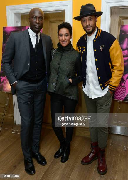 """Ozwald Boateng, Kimberly Chandler and Browne Andrews attend """"A Man's Story"""" New York Premiere at Crosby Street Hotel on October 26, 2012 in New York..."""