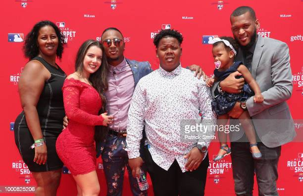 Ozzie Albies of the Atlanta Braves and the National League and guests attend the 89th MLB AllStar Game presented by MasterCard red carpet at...