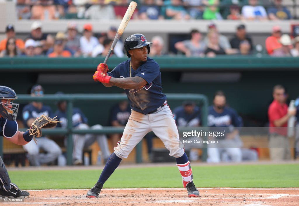 Ozzie Albies #1 of the Atlanta Braves bats during the Spring Training game against the Detroit Tigers at Publix Field at Joker Marchant Stadium on March 1, 2018 in Lakeland, Florida. The Braves defeated the Tigers 5-2.