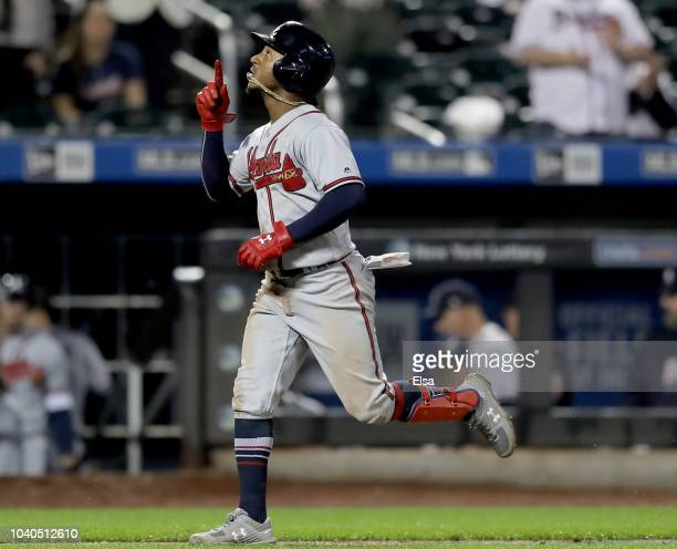 Ozzie Albies of the Atlanta Braves celebrates his two run home run in the eighth inning against the New York Mets on September 252018 at Citi Field...