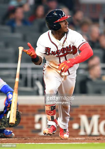 Ozzie Albies of the Atlanta Braves hits a thirdinning double against the New York Mets at SunTrust Park on April 19 2018 in Atlanta Georgia