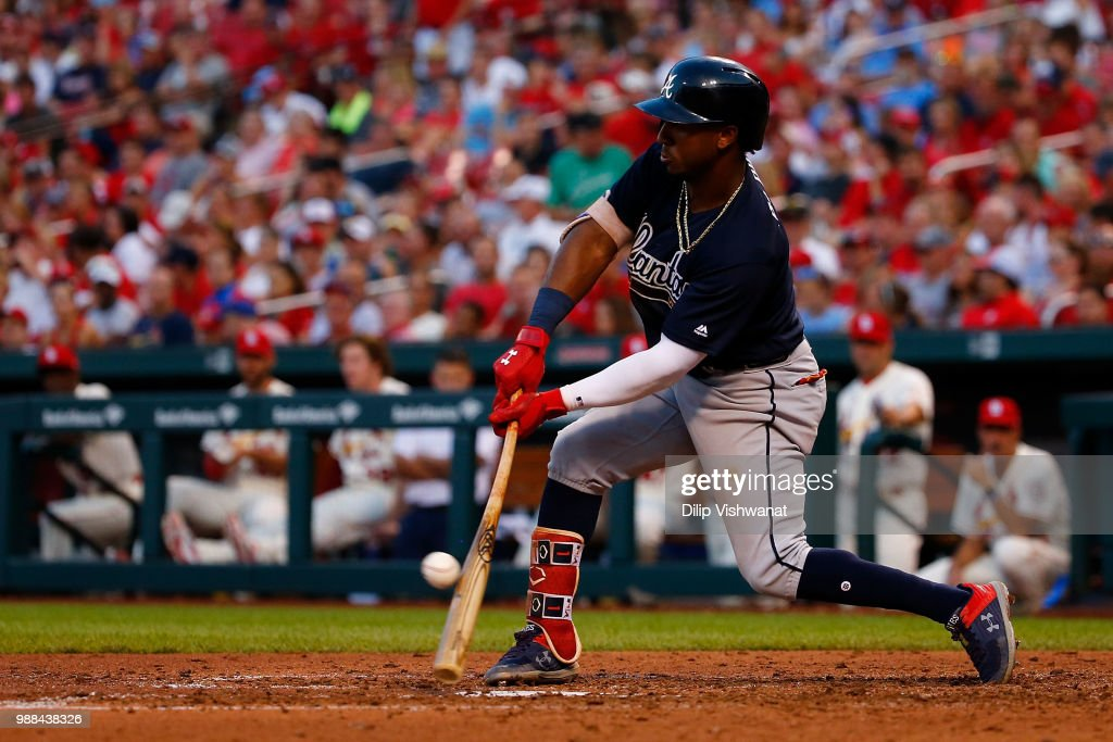 Ozzie Albies #1 of the Atlanta Braves hits an RBI single against the St. Louis Cardinals in the sixth inning at Busch Stadium on June 30, 2018 in St. Louis, Missouri.