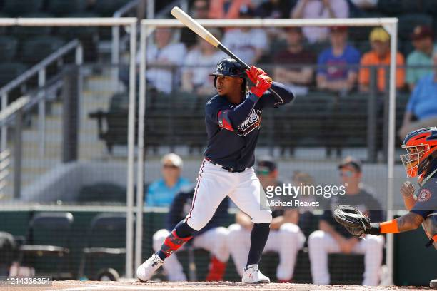Ozzie Albies of the Atlanta Braves in action against the Houston Astros during a Grapefruit League spring training game at CoolToday Park on March 10...