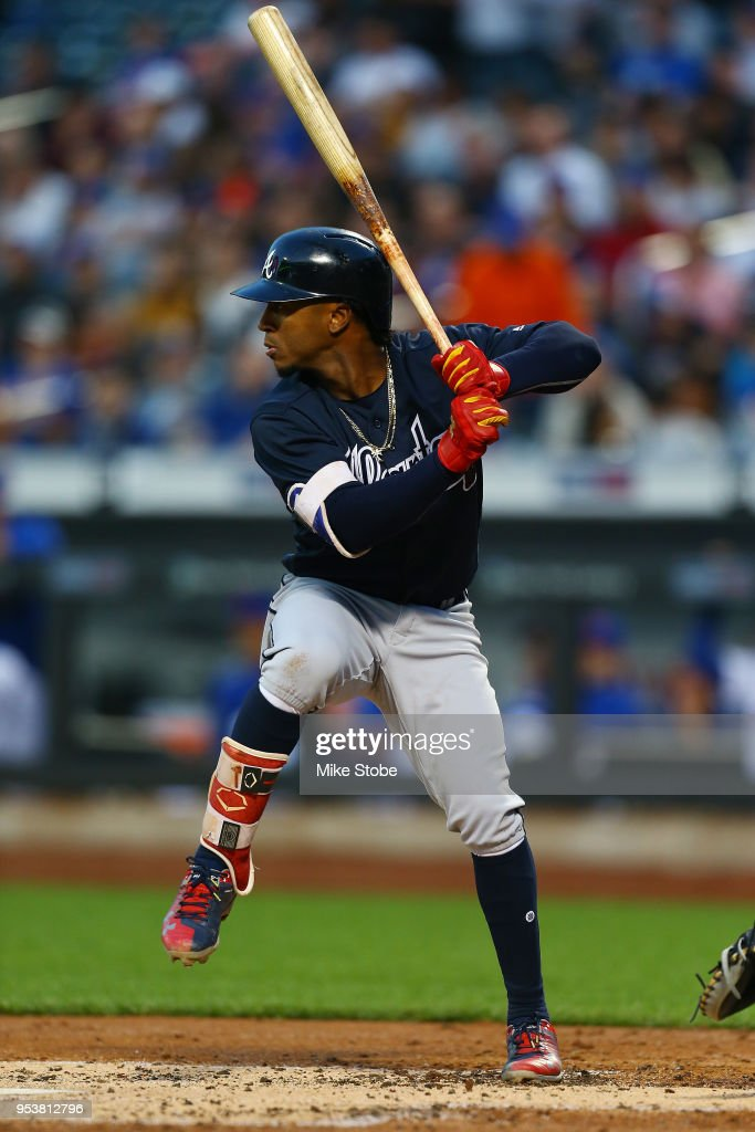 Ozzie Albies #1 of the Atlanta Braves in action against the New York Mets at Citi Field on May 1, 2018 in the Flushing neighborhood of the Queens borough of New York City. Atlanta Braves defeated the New York Mets 3-2.