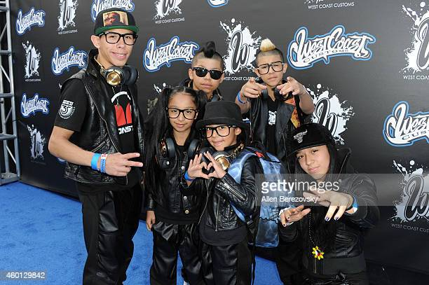 Ozzie Precious Livia EFresh Turbo and Spindarella of the break dancing group Monster Kids attend the Grand Opening of West Coast Customs Burbank...