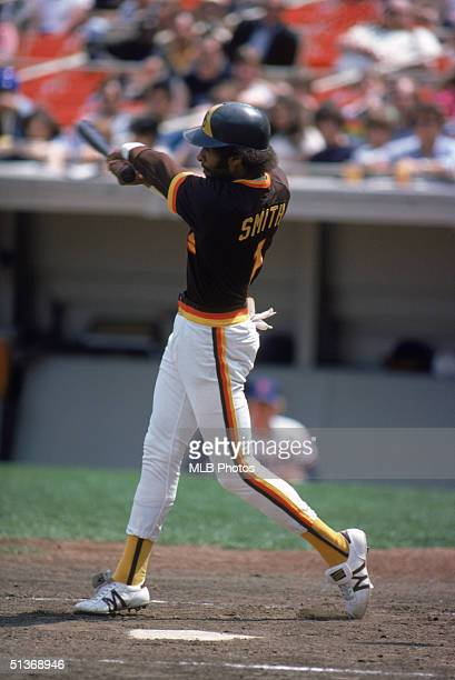 Ozzie Smith of the San Diego Padres swings at a pitch durng a game circa 19781981