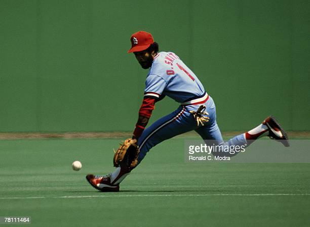 Ozzie Smith of the St Louis Cardinals fielding during a MLB game against the Philadelphia Phillies on April 23 1982 in Philadelphia Pennsylvania