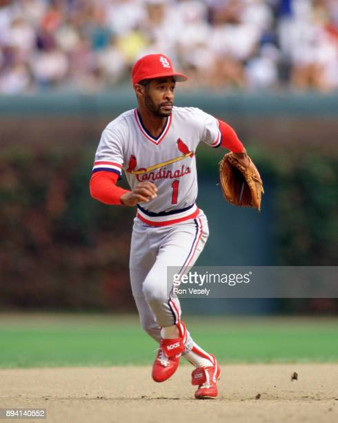 Ozzie Smith of the St Louis Cardinals fields during an MLB game at Wrigley Field in Chicago Illinois during the 1987 season