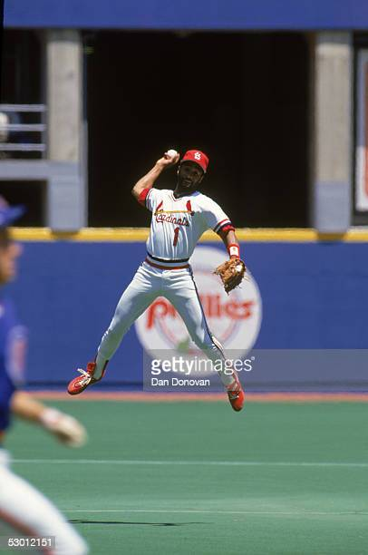 Ozzie Smith of the St Louis Cardinals throws to make a play during a season game Ozzie Smith played for the St Louis Cardinals from 19821996