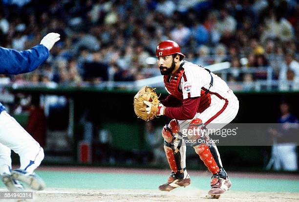 Ozzie Virgil of the Philadelphia Phillies in action against the Chicago Cubs during a Major League Baseball game circa 1982 at Veterans Stadium in...