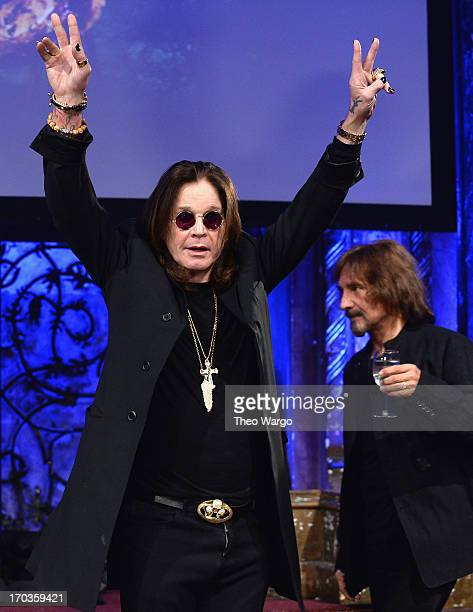 Ozzy Osbourne and Geezer Butler attend the Black Sabbath Town Hall Event Celebrating The Release of 13 at The Angel Orensanz Foundation on June 11...