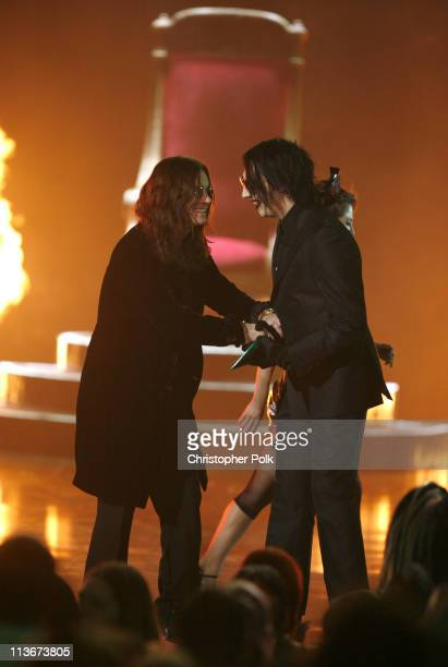 Ozzy Osbourne and Marilyn Manson during Spike TV's Scream Awards 2006 Show at Pantages Theater in Hollywood California United States