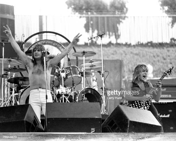 Ozzy Osbourne and Randy Rhoads perform at the 'Days On The Green' concert at the Oakland Coliseum on July 4 1981 in Oakland California