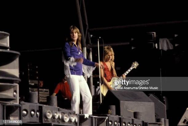 Ozzy Osbourne and Randy Rhoads perform on stage at Heavy Metal Holocaust, Port Vale Football Stadium, Stoke-on-Trent, United Kingdom, 1st August 1981.