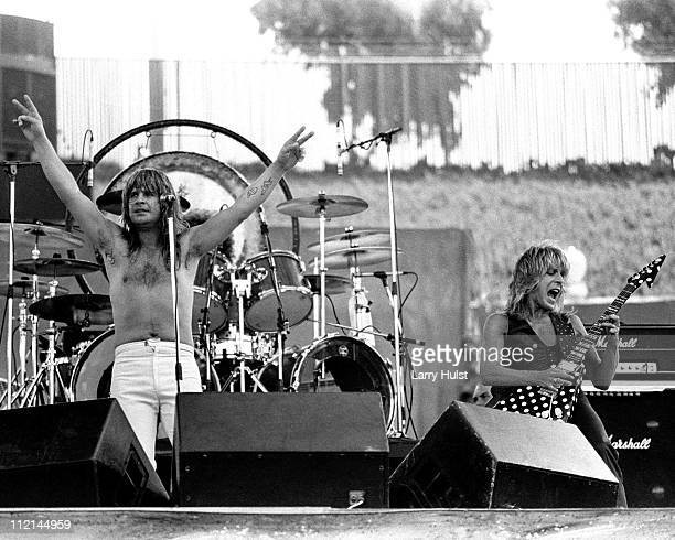 Ozzy Osbourne and Randy Rhoads performing at the Oakland Coliseum in Oakland California on July 4 1981