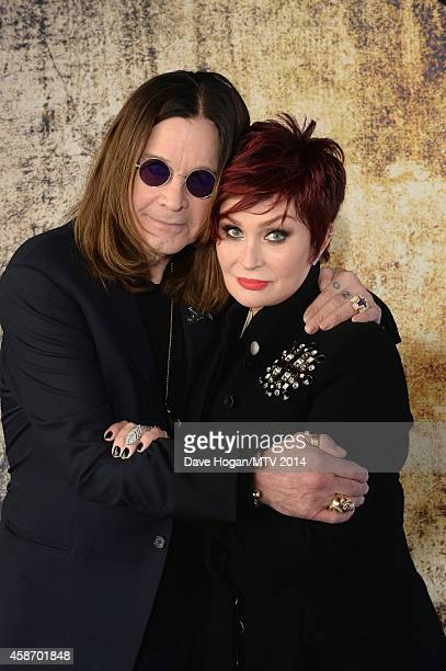 Ozzy Osbourne and Sharon Osbourne attend the MTV EMA's 2014 at The Hydro on November 9 2014 in Glasgow Scotland