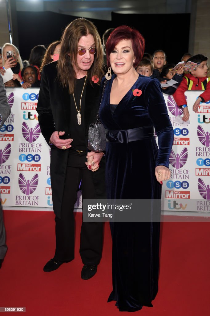 Ozzy Osbourne and Sharon Osbourne attend the Pride Of Britain Awards at the Grosvenor House on October 30, 2017 in London, England.