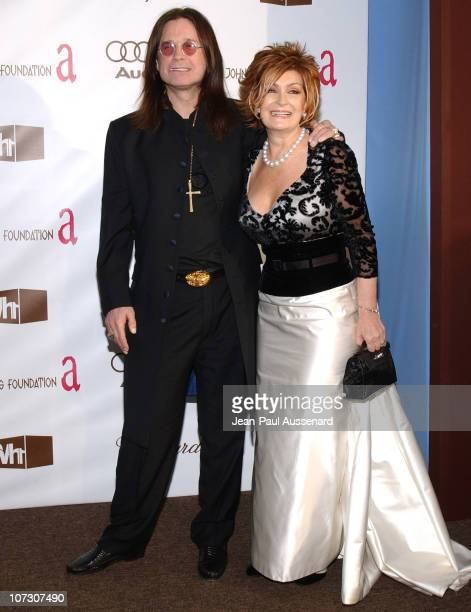 Ozzy Osbourne and Sharon Osbourne during 14th Annual Elton John AIDS Foundation Oscar Party Cohosted by Audi Chopard and VH1 Arrivals at Pacific...