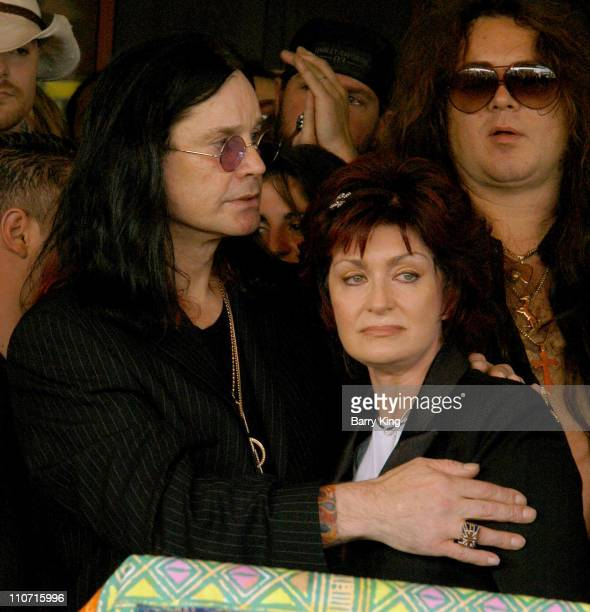 Ozzy Osbourne and Sharon Osbourne during Guitarist Randy Rhoads Posthumously Inducted Into Hollywood's Rockwalk at The Rockwalk in Hollywood...