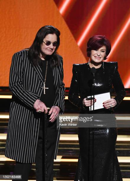 Ozzy Osbourne and Sharon Osbourne speak onstage during the 62nd Annual GRAMMY Awards at STAPLES Center on January 26, 2020 in Los Angeles, California.