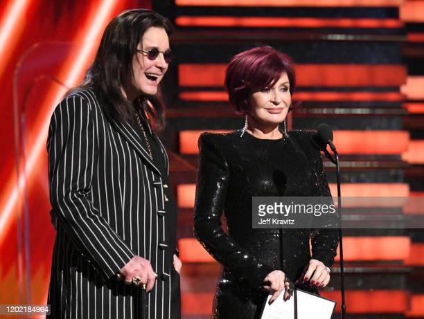 Ozzy Osbourne and Sharon Osbourne speak onstage during the 62nd Annual GRAMMY Awards at Staples Center on January 26 2020 in Los Angeles California