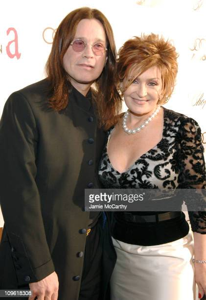 Ozzy Osbourne and Sharon Osbourne wearing Chopard during 14th Annual Elton John AIDS Foundation Oscar Party Cohosted by Audi Chopard and VH1 Red...