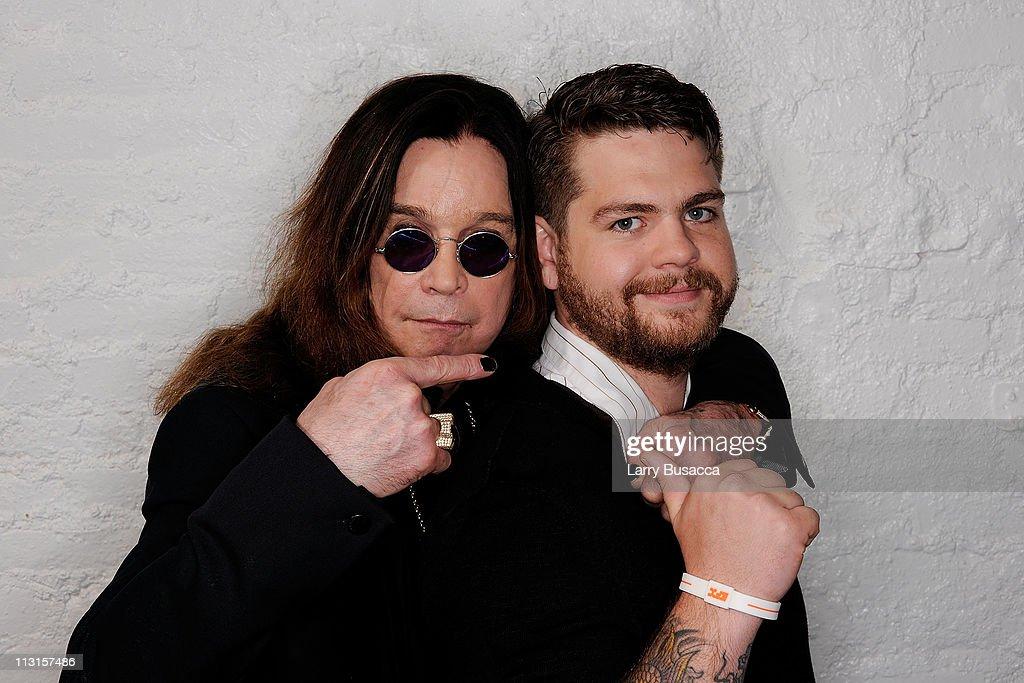 Ozzy Osbourne and son, producer Jack Osbourne visit the Tribeca Film Festival 2011 portrait studio on April 25, 2011 in New York City.