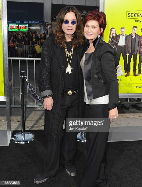 Ozzy Osbourne and wife Sharon Osbourne arrive at the Los Angeles Premiere 'Seven Psychopaths' at Mann Bruin Theatre on October 1 2012 in Westwood...