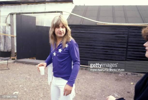 Ozzy Osbourne, backstage at Heavy Metal Holocaust, Port Vale Football Stadium, Stoke-on-Trent, United Kingdom, 1st August 1981.
