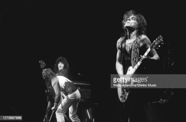 Ozzy Osbourne band performs on stage on the 'Blizzard Of Ozz' tour, United Kingdom, September-October 1980. Bob Daisley , Ozzy Osbourne , Randy...