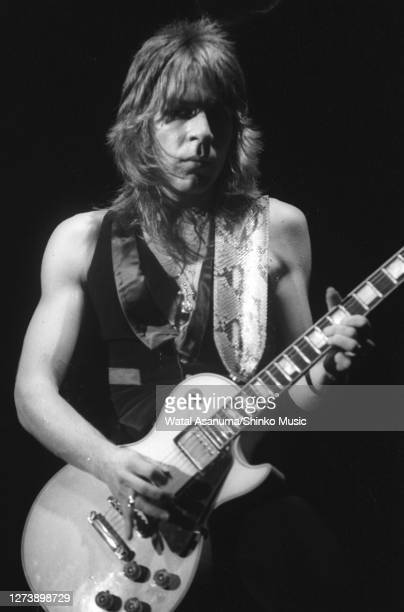 Ozzy Osbourne band performs on stage on the 'Blizzard Of Ozz' tour, United Kingdom, September-October 1980. Randy Rhoads .