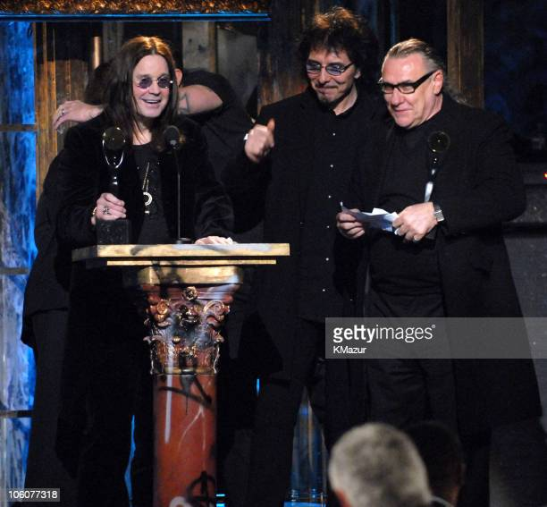 Ozzy Osbourne Bill Ward and Tony Iommi of Black Sabbath inductees