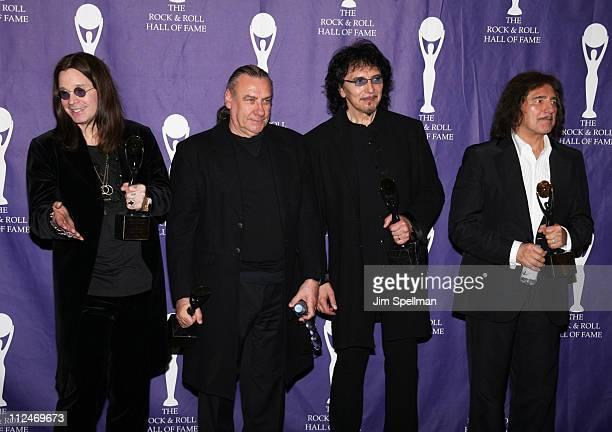 Ozzy Osbourne Bill Ward Tony Iommi and Geezer Butler of Black Sabbath inductees
