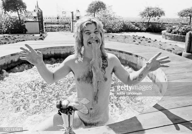 Ozzy Osbourne, former lead singer of Black Sabbath, pictured in his open air hot tub in the garden of his luxury home in Goldwater Canyon, Beverly...