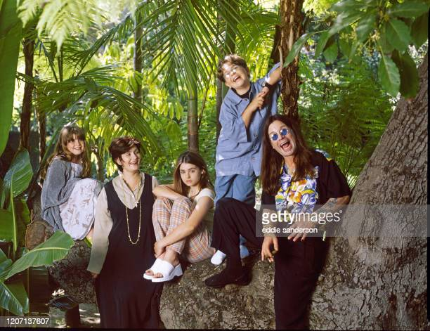 Ozzy Osbourne, former lead singer of Black Sabbath, pictured with his family in the grounds of his luxury home in Coldwater Canyon, Beverly Hills,...