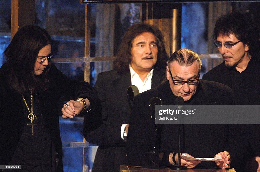 Ozzy Osbourne, Geezer Butler, Bill Ward and Tony Iommi of Black Sabbath, inductees