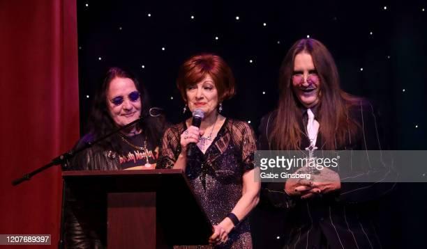 Ozzy Osbourne impersonator Sergio Casasanta, Sharon Osbourne impersonator Caroline Bernstein and Ozzy Osbourne impersonator Don Rugg present the R &...