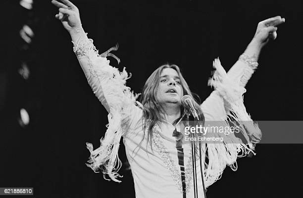 Ozzy Osbourne of Black Sabbath performs on stage at Hammersmith Odeon, London, January 1976.